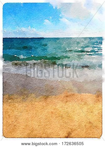 Digital watercolor painting of a beach and the sea in Sesimbra in Portugal with a blue cloudy sky and a visible horizon. With space for text.