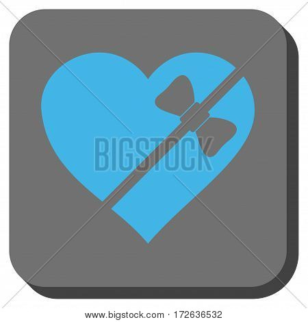 Tied Love Heart square button. Vector pictograph style is a flat symbol on a rounded square button light blue and gray colors.
