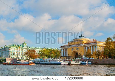 ST PETERSBURG RUSSIA-OCTOBER 3 2016. Admiralty arch and Winter Palace on the embankment of Neva river in St Petersburg Russia. St Petersburg Russia city landscape