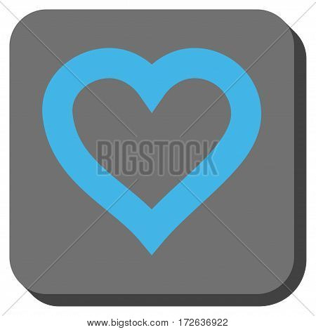 Valentine Heart interface toolbar button. Vector pictograph style is a flat symbol in a rounded square button light blue and gray colors.