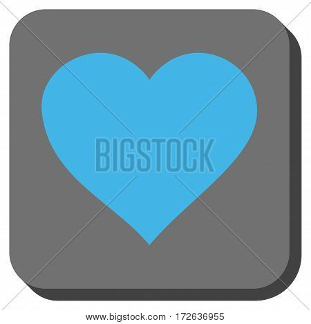 Valentine Heart rounded button. Vector pictogram style is a flat symbol centered in a rounded square button light blue and gray colors.