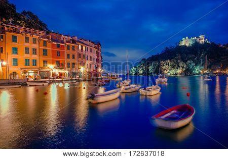 Portofino Fishing Village Marina and the Castello Brown on the Rock. Portofino Liguria Italy.
