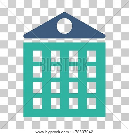 Multi-Storey House icon. Vector illustration style is flat iconic bicolor symbol cobalt and cyan colors transparent background. Designed for web and software interfaces.