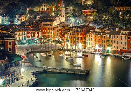 Portofino Harbour at Night. Portofino is Located in the Metropolitan City of Genoa on the Italian Riviera.