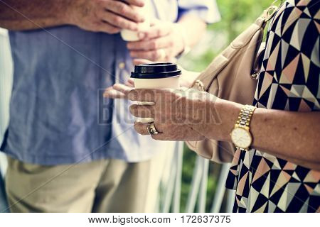 Mature couple enjoying coffee together
