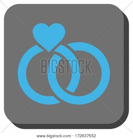 Wedding Rings interface icon. Vector pictogram style is a flat symbol in a rounded square button light blue and gray colors.