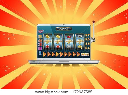 illustration of a online jackpot slot machine for gambling game concept on laptop