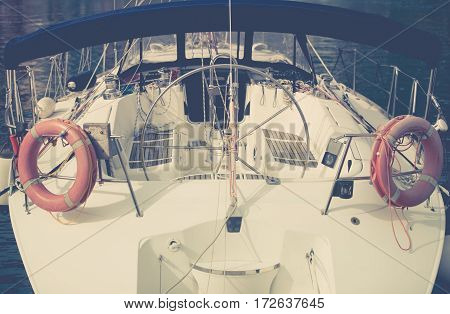 Summer Yachting Time. Modern Yacht Cockpit. Recreation and Transportation. Fishing Theme.