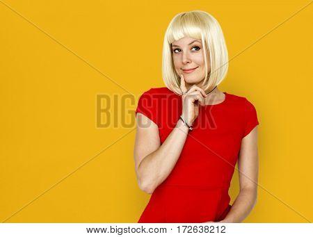 Caucasian Blonde Female Posing Adorable