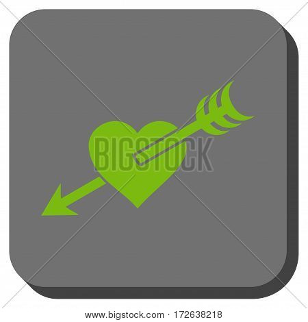 Arrow Heart square icon. Vector pictogram style is a flat symbol on a rounded square button light green and gray colors.
