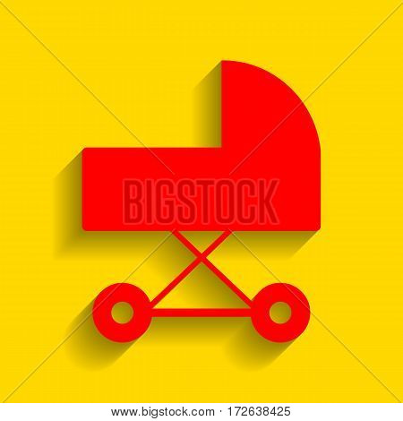 Pram sign illustration. Vector. Red icon with soft shadow on golden background.