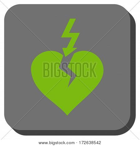 Break Heart square icon. Vector pictograph style is a flat symbol centered in a rounded square button light green and gray colors.