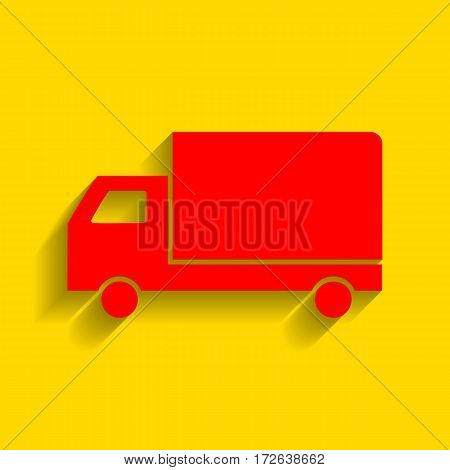 Delivery sign illustration. Vector. Red icon with soft shadow on golden background.