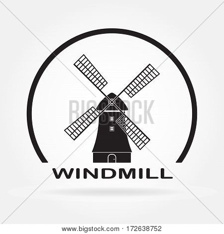 Windmill icon isolated on white background. Mill and Holland symbol. Vector illustration.