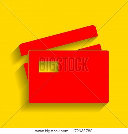 Credit Card sign. Vector. Red icon with soft shadow on golden background.
