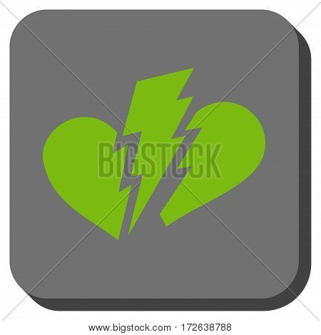 Broken Heart square button. Vector pictogram style is a flat symbol centered in a rounded square button light green and gray colors.