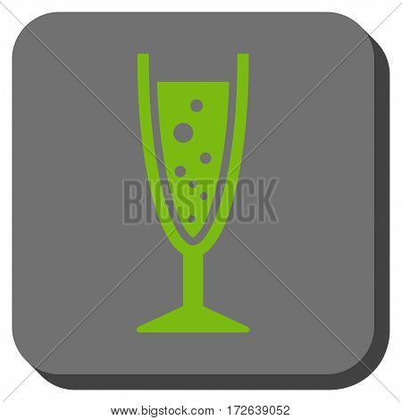 Champagne Glass interface icon. Vector pictogram style is a flat symbol in a rounded square button light green and gray colors.
