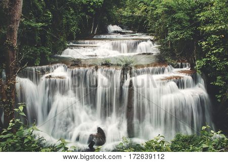 Waterfall Cascade Freshness Jungle Nature Concept