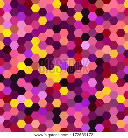 Seamless Abstract Mosaic Background. Hexagons Geometric Background. Design Elements. Vector Illustra