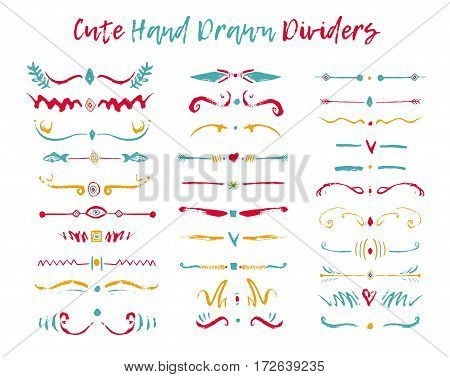 Colorful Set of handdrawn divide borders in ink. Swirls and dividers for design. Vector stylish border.