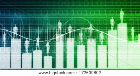 User Demographics and a Business Population Data Results 3D Illustration Render