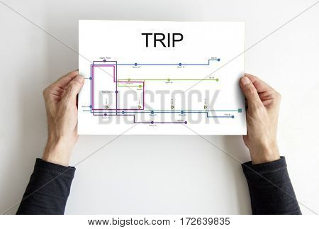 Hands Hold Paper Show Map Route Graphic