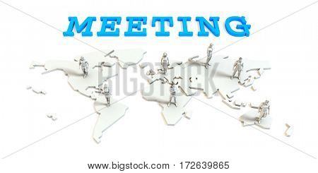 Meeting Global Business Abstract with People Standing on Map 3D Illustration Render