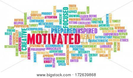 Motivated Word Cloud Concept on White
