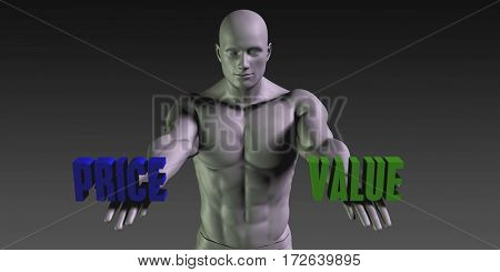 Price or Value as a Versus Choice of Different Belief 3D Illustration Render