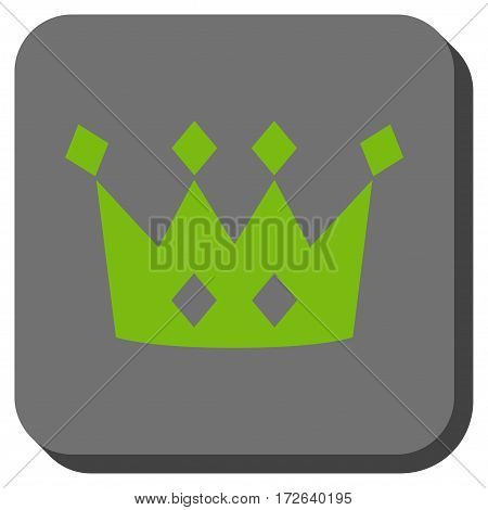 Crown rounded icon. Vector pictogram style is a flat symbol on a rounded square button light green and gray colors.