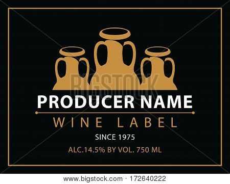 vector labels for wine with crock in black and gold