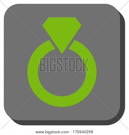 Diamond Ring rounded button. Vector pictograph style is a flat symbol on a rounded square button light green and gray colors.