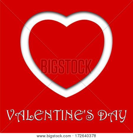 Valentine's day card with heart, vector illustration