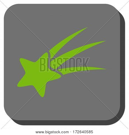 Falling Star square icon. Vector pictograph style is a flat symbol in a rounded square button light green and gray colors.