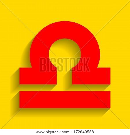 Libra sign illustration. Vector. Red icon with soft shadow on golden background.