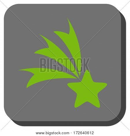 Falling Star interface toolbar icon. Vector pictograph style is a flat symbol in a rounded square button light green and gray colors.