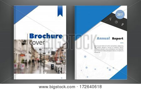 Blue brochure geometric background for Poster, Flyer design Layout vector template in A4 size with city.