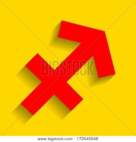 Sagittarius sign illustration. Vector. Red icon with soft shadow on golden background.