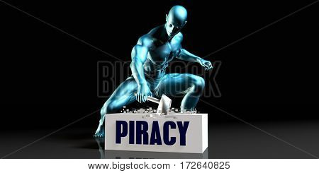 Get Rid of Piracy and Remove the Problem 3D Illustration Render