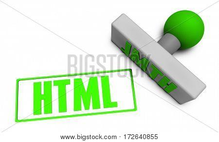 HTML Stamp or Chop on Paper Concept in 3D Illustration Render