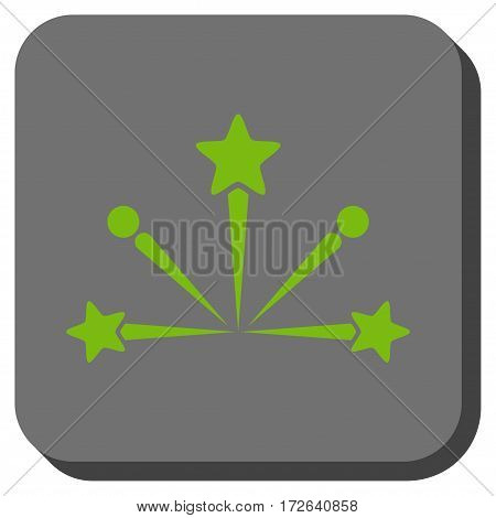 Fireworks Bang interface icon. Vector pictograph style is a flat symbol centered in a rounded square button light green and gray colors.
