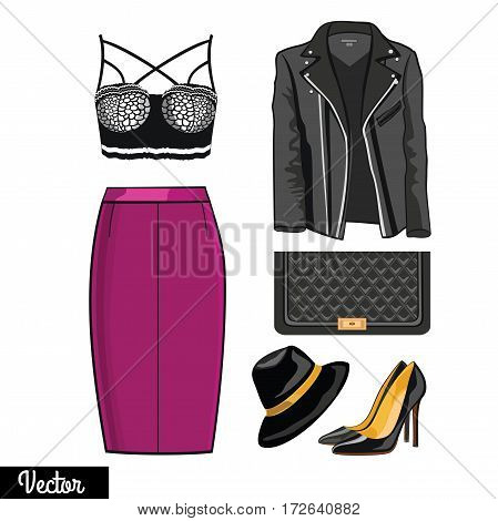 Illustration stylish and trendy clothing.Leather jacket, narrowed skirt, high heels shoes and stylish hat. Silhouette made in modern flat vector style. Fashion vector Illustration