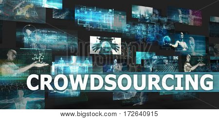 Crowdsourcing Presentation Background with Technology Abstract Art 3D Illustration Render