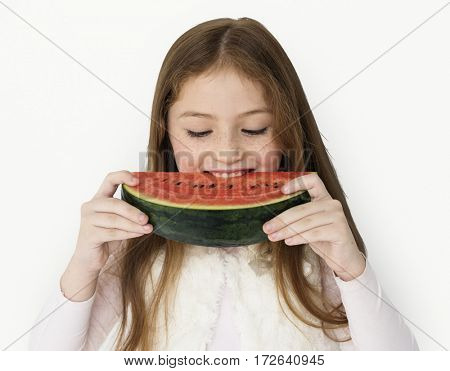 Girl Eating Watermelon Studio Concept