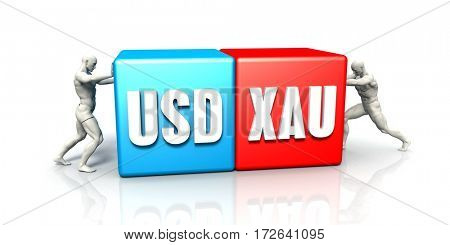 USD XAU Currency Pair Fighting in Blue Red and White Background 3D Illustration Render