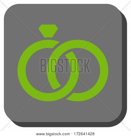 Gem Rings toolbar button. Vector pictograph style is a flat symbol in a rounded square button light green and gray colors.