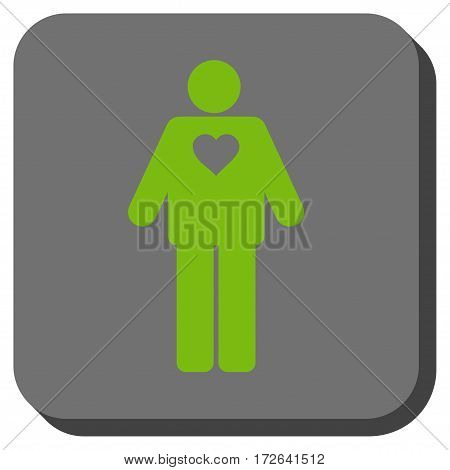 Groom rounded icon. Vector pictograph style is a flat symbol in a rounded square button light green and gray colors.