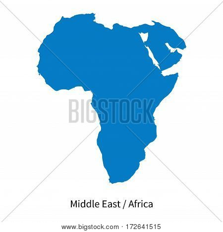 Detailed vector map of Middle East and Africa Region on white