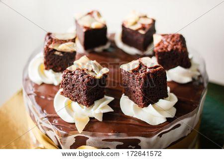 Chocolate Cake With Fudge Sauce.