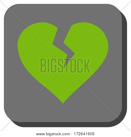 Heart Break interface icon. Vector pictogram style is a flat symbol in a rounded square button light green and gray colors.